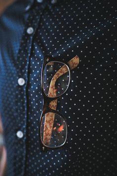 Glasses and polka dots.