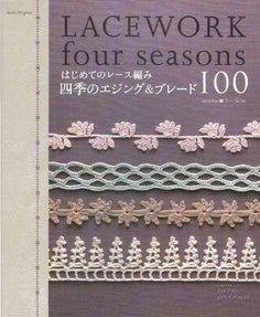 Seasonal borders and edgings, 25 for each season. Online PDF. #Japanese #crochet #book #Asahi