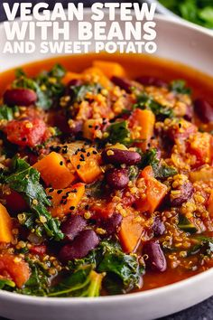 This healthy vegan stew recipe is easy and hearty with a combination of beans, quinoa and spices. #thecookreport #veganstew #veganrecipe