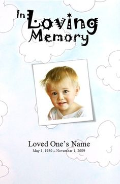 Template for a Funeral Service for a boy. Child Funeral Order of Service Template. Printable Memorial Order of Service Template for a baby / kid. Printable Funeral Order of Service Card Template for baby / kid / boy. Find more printable Obituary and Funeral Announcement Templates at FuneralPamphlets.com