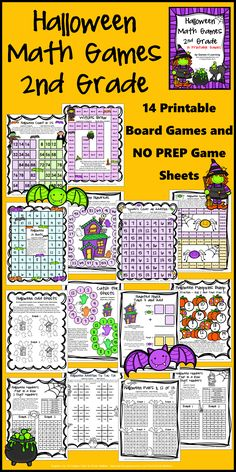 Halloween Math Games Second Grade by Games 4 Learning for bringing some Halloween fun into the classroom -  14 printable games $