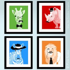 Mustache animal prints | Paper Llamas -- what a cool way to do an animal theme!
