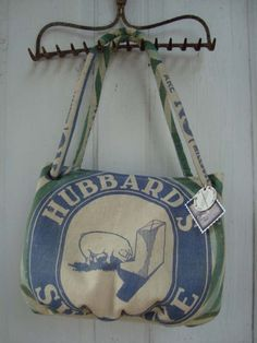 Carpetbag made from vintage Hubbard's pig feed sack.  www.ginnymae.etsy.com
