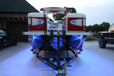 LED lights & 13 Speaker sound system 27ft. pontoon boat.  (6) Speakers located insinde, (6) six speakers located on exterior of boat (that way you can still hear music while swimming), 1 Subwoofer custom enclosed and mounted. For more information please visit our website and also check out our facebook page for latest news and photos.    www.classichometheater.com  www.facebook.com/classichometheater  www.twitter.com/classichtheater