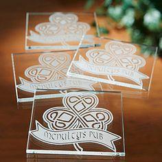 Celtic Shamrock Personalized Glass Coaster Set of 4