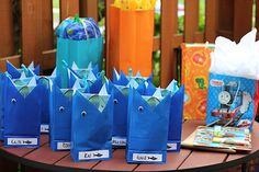favor bags, pool parties, gift bags, shark party favor, shark party bags