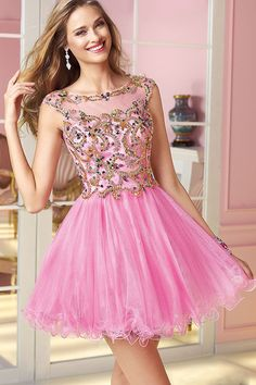 2014 Beaded Tulle Bodice Low Back A Line Short/Mini Dresses Pick Up Tulle Skirt