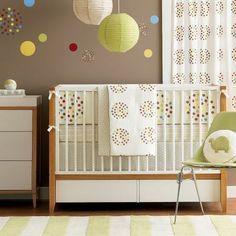 Polka Dot Nursery - Gender Neutral Nursery - We've got this Dwell Studio set up and ready to go in a dark cherry crib!