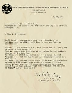 Memos from Nick Fury, Director of S.H.I.E.L.D.