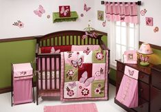 Sweet And Feminine Baby Girls Bedding Sets : Sweet Pink Butterfly Baby Girls Bedding Set Inspiration in White and Green Girls Nursery Room w...