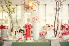 staggered tall vases with lots of color