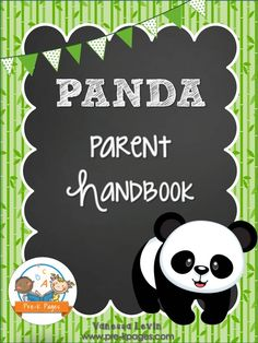 Printable Panda Theme Parent Handbook Template. Easily customize it with your own information and print- easy peasy. Black and White Pages to Save Your Ink!