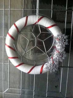 candy cane snowflake wreath by thebestintentions on Etsy, $30.00
