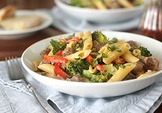 creamy skillet penne with sausage and broccoli.