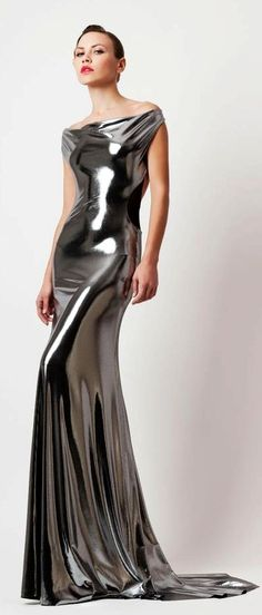 Liquid Silver metallic gowns, evening dresses, dress 2014, dresses silver, 2013 gown, gown dresses, autumnwint 20132014, grey dresses, couture fashion