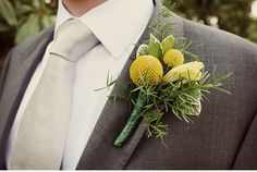 wedding boutonniere, wedding ideas, grey weddings, yellow, ball boutonnier, groom, boutonnieres, flower, billi ball