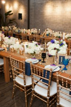Navy and gold wedding tables   Blue Rose Photography