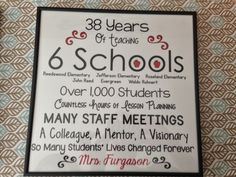 Plaque for a retired teacher