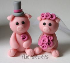 wedding cake toppers, wedding topper, piggi cake, weddings, cours pig, wedding cakes, polym clay, polymer clay, custom piggi