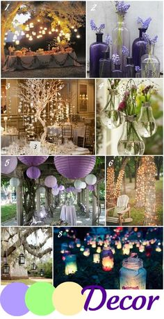 purple and green wedding - not sure on the colour but nice ideas