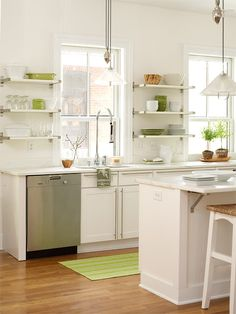 Budget saver: Open shelves instead of upper cabinets.