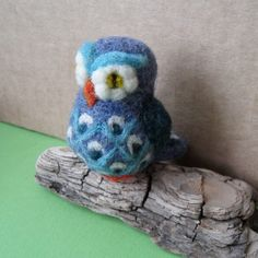 beautiful needle felted little blue owl