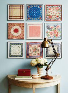 Vintage handkerchiefs framed as art