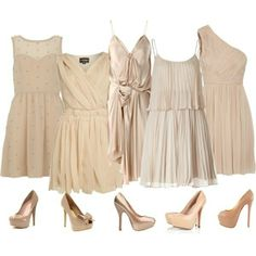 Nude Bridesmaids Dresses. Every could get thier own long nude dress and it's fun that they aren't all so matchy matchy color wise.