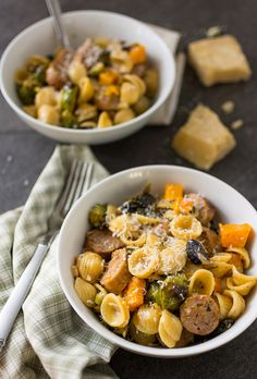 Orecchiette with butternut squash, brussel sprouts and sausage by MissMopo, via Flickr