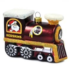 WASHINGTON REDSKINS BLOWN GLASS TRAIN ORNAMENT