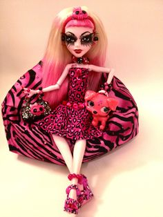 """OOAK Monster High Custom Doll """"Porcia and Pup Tart"""" Doll Clothes Pet 