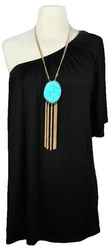 ♥ Black one shoulder dress