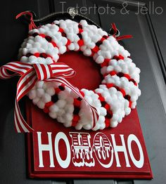 Pop Pom Wreath from Tater Tots and Jello!