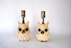 Vintage Mid- Century Plaster Owl Lamp Set. $40.00, via Etsy.