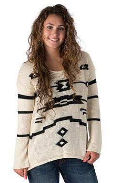 Vintage Havana Women's Ivory with Black Tribal Design Long Sleeve Sweater
