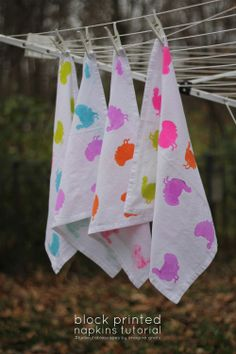 block printed napkins tutorial | imagine gnats