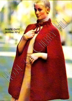 Mad Men, Mod, Textured Crochet Cape, Vintage Pattern