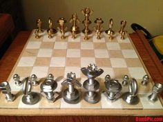 Amazing chess sets made from recycled material like nuts & bolts or brass & steel.