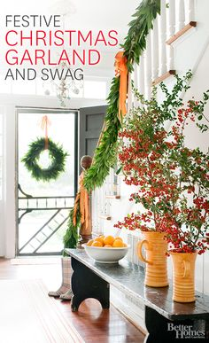 Fill your home with Christmas garland and swag for an even merrier holiday season: http://www.bhg.com/christmas/garlands/holiday-garland-ideas/?socsrc=bhgpin101814