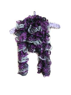 Knitted ruffle scarfpurple by Christinescraftbox on Etsy, £14.00