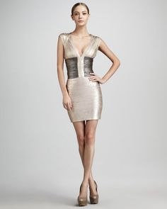 Metallic Colorblock Bandage Dress by Herve Leger at Neiman Marcus.