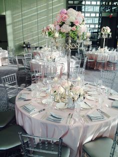 Mixing pale pink with the grey tones in Aria Ballroom creates a warm and inviting atmosphere! #WeddingWednesday