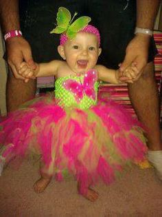 Neon green and neon pink butterfly tutu dress by SunshinesTutus, $25.00