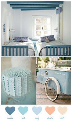 color palettes, color schemes, room colors, color blue, ruffle cake