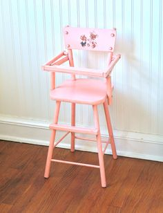 Circa 1950s Pink Wooden Doll High Chair Cass Teddy by ivorybird, $40.00. I love a vintage inspired nursery!