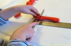Playdough measuring activity.  This activity was designed for a preschooler, but I love the idea for introducing measurement to the inch or half inch and letting students measure indpendently.