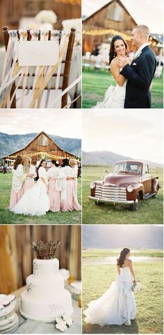 country wedding, great dress, and cowboy boots