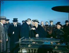 FDR, Harry Hopkins, Edward Stettinius and Molotov at Saki Airport, Russia enroute to Yalta. February 3, 1945.