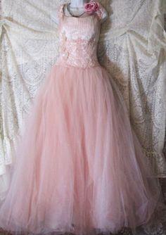 Blush wedding dress nude pink  tulle romantic medium large by vintage opulence on Etsy