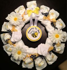 Personalized DIAPER WREATH Baby Shower Gift Custom Decoration - What Will It Bee or Mommy To Bee Theme - Daisy Yellow via Etsy